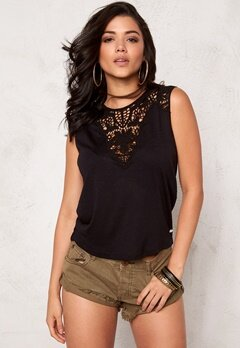 ONLY Lindsey S/L Crochet Top Black Bubbleroom.se
