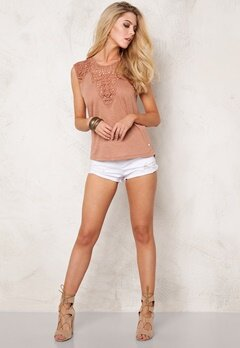 ONLY Lindsey S/L Crochet Top Mocha Mousse Bubbleroom.se