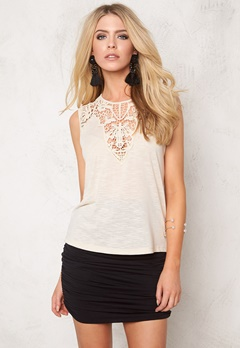 ONLY Lindsey S/L Crochet Top Whitecap Gray Bubbleroom.se