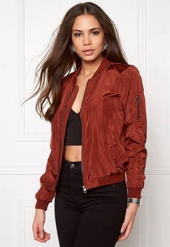ONLY Linea Nylon Bomber Jacket Cherry Mahogany Bubbleroom.se