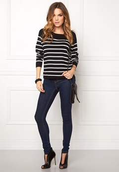 ONLY Mila Stripe Pullover Noos Black/Cloud Bubbleroom.fi