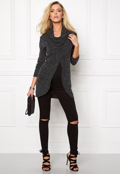 ONLY New Hayley Zip Cardigan Dark Grey Melange Bubbleroom.se