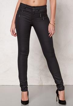 ONLY New Olivia Coated Pants Black Bubbleroom.se