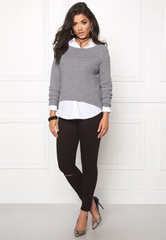 ONLY New Tessa Zip Pullover Light Grey Melange Bubbleroom.se