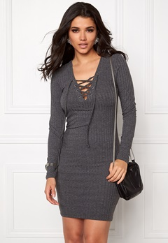 ONLY Rikki L/S Lace Up Dress Dark Grey Melange Bubbleroom.se