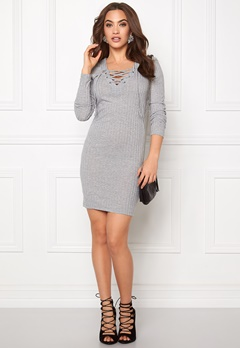 ONLY Rikki L/S Lace Up Dress Light grey Melange Bubbleroom.se