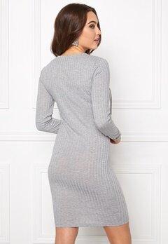 ONLY Rikki L/S Lace Up Dress Light grey Melange Bubbleroom.se