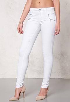 ONLY Royal skinny zip jeans White Bubbleroom.se