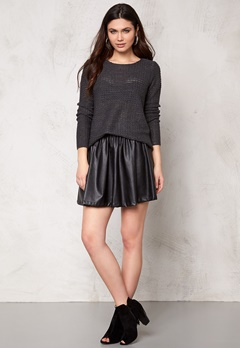 ONLY Sia l/s pullover knit Dark Grey Melange Bubbleroom.se
