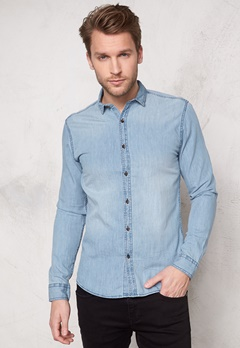 ONLY & SONS Austin Shirt Light blue denim Bubbleroom.se