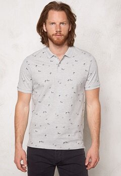 ONLY & SONS Sverre AOP Polo Light Grey Melange Bubbleroom.se