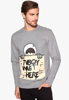 ONLY & SONS Tvboy crew neck Light Grey Melange Bubbleroom.se