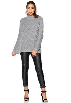 ONLY Stella Highneck Knit Light Grey Melange Bubbleroom.se