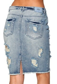 ONLY Tonni Long Destroy Skirt Medium Blue Denim Bubbleroom.se