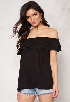 Pieces Beth Off Shoulder Top Black Bubbleroom.se