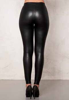 Pieces New Shiny Leggings Black Bubbleroom.se