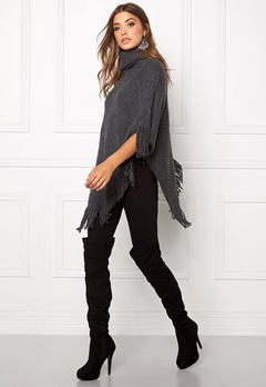 Pieces Pollus Poncho Dark Grey Melange Bubbleroom.se