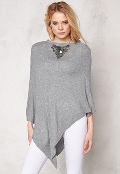 Pieces Rikki wool poncho Light Grey Melange Bubbleroom.se