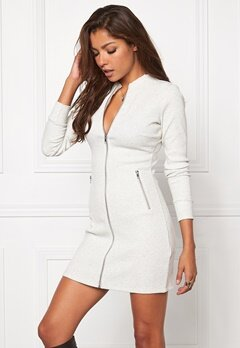 Chiara Forthi Ribbed Bodycon Dress/Jacket Grey melange Bubbleroom.se