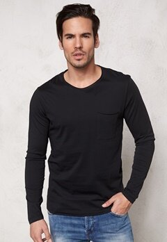 SELECTED HOMME Pima Florence ls O-Neck Black Bubbleroom.se