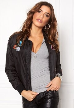 Sisters Point Lusa Patch Bomber Jacket Black Bubbleroom.se