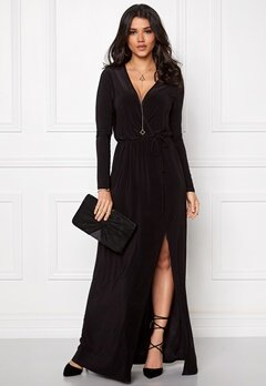 Club L Slinky Wrap Front Maxi Black Bubbleroom.se
