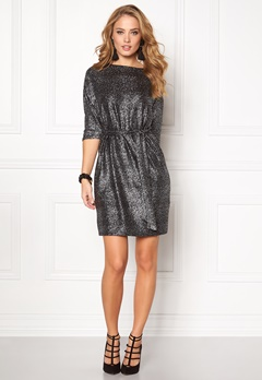 SOAKED IN LUXURY Miriam Dress Black w silver foil Bubbleroom.se