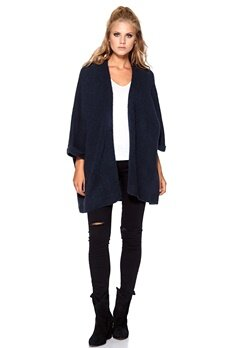 SOAKED IN LUXURY Santana Knit Kimono Navy Bubbleroom.se