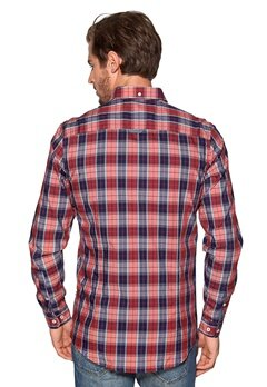 Tailored & Original Fullham Check Shirt 0907 Ruby Red Bubbleroom.se