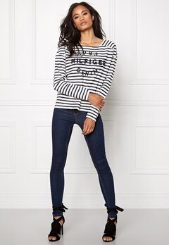TOMMY HILFIGER DENIM Basic Stripe Knit 901 Egret/Navy Bubbleroom.se