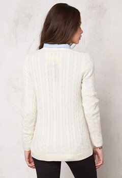 TOMMY HILFIGER Ivina Cable Knit Sweater 118 Snow White Bubbleroom.se