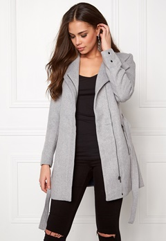 VERO MODA Call Rich 3/4 Wool Jacket Light Grey Melange Bubbleroom.se