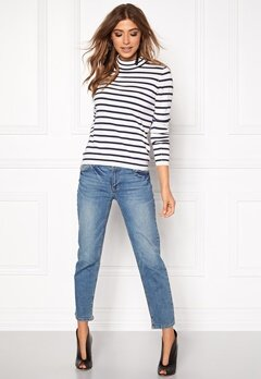 VERO MODA Glory Stripe Turtleneck Snow White Bubbleroom.se