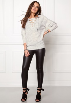 VILA Cant String Knit Top Light Grey Melange Bubbleroom.fi