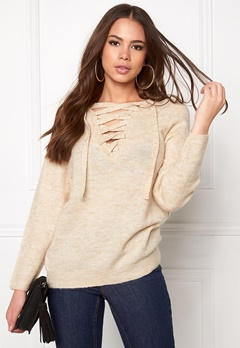 VILA Cant String Knit Top Sandshell Bubbleroom.fi