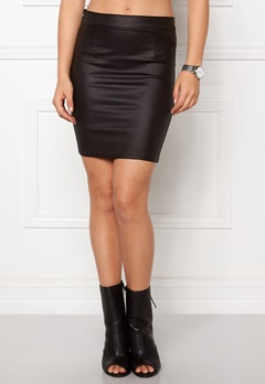 VILA Comma Coated Skirt Black Bubbleroom.se
