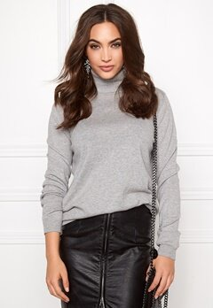 VILA Division Rollneck knit Light Grey Melange Bubbleroom.se