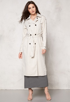 VILA Emmely long Trenchcoat Moonbeam Bubbleroom.se
