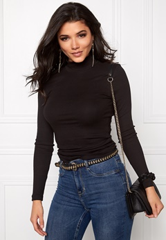 VILA Falls Rib Turtleneck Black Bubbleroom.se