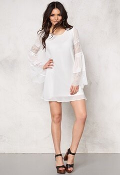 VILA Jilla L/S Short Dress Snow White Bubbleroom.fi