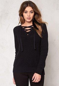 VILA Lace Knit Top Black Bubbleroom.se