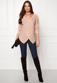 VILA Match Wrap Knit Top Rose Dust Bubbleroom.fi