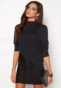 VILA Nat l/s top Black Bubbleroom.fi