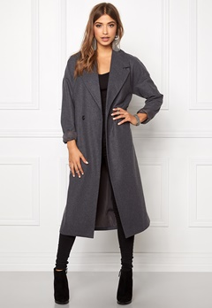 VILA Saka Long Coat Medium Grey Melange Bubbleroom.fi