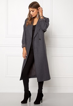 VILA Saka Long Coat Medium Grey Melange Bubbleroom.se