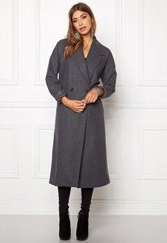 VILA Saka Long Coat Medium Grey Melange Bubbleroom.se