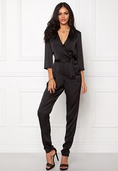VILA Sateen 3/4 Jumpsuit Black Bubbleroom.fi