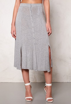 VILA Semra long skirt Light Grey Melange Bubbleroom.se