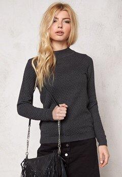 VILA Share Turtleneck Knit Dark Grey Melange Bubbleroom.se