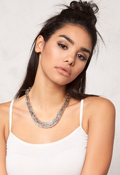 Pieces Vivo Necklace 3 Silver Colour Bubbleroom.se